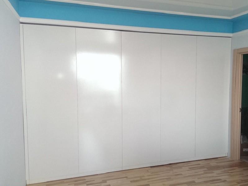 Белый глянцевый шкаф 5 дверей №1104