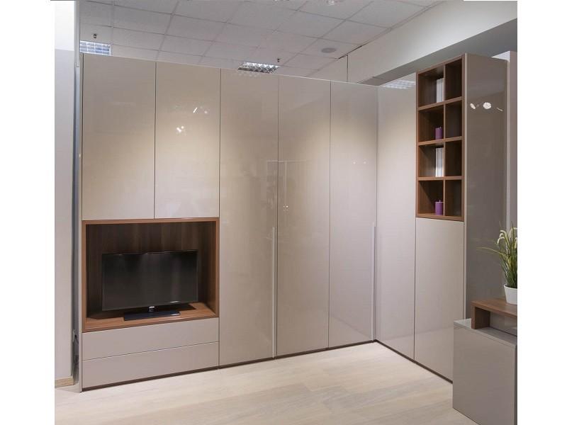 Бежевый угловой шкаф с нишей для телевизора №1108