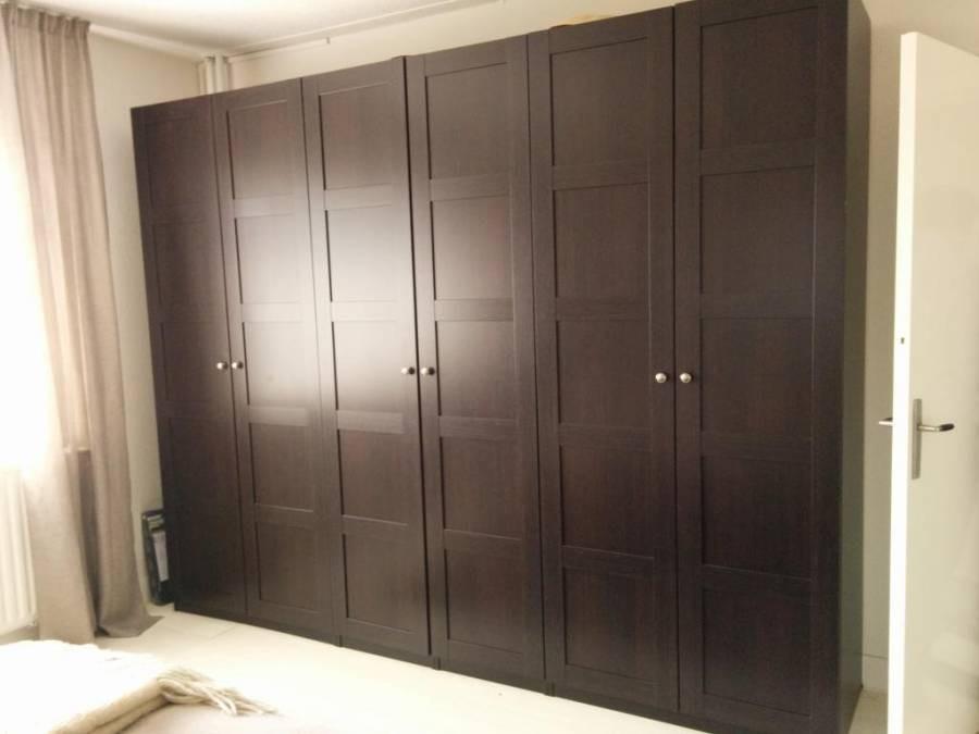 Распашной темный шкаф 6 дверей №1135
