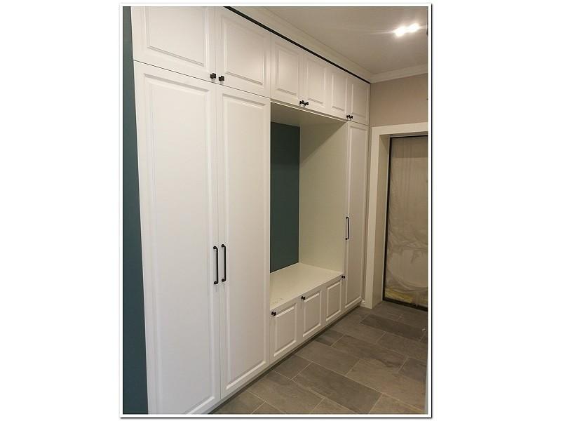 Распашной шкаф в прихожую белый №1196 вид сбоку