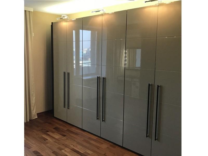 Серый распашной шкаф 6-дверый №1272
