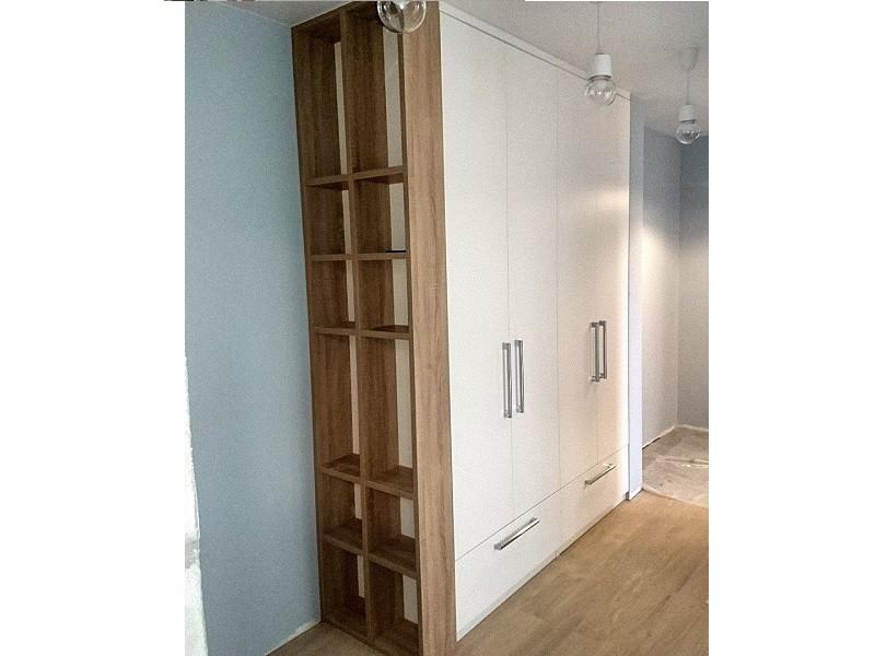 Распашной шкаф до потолка с ящиками №1274