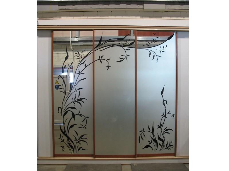 Подвесные двери-купе с пескоструйным рисунком