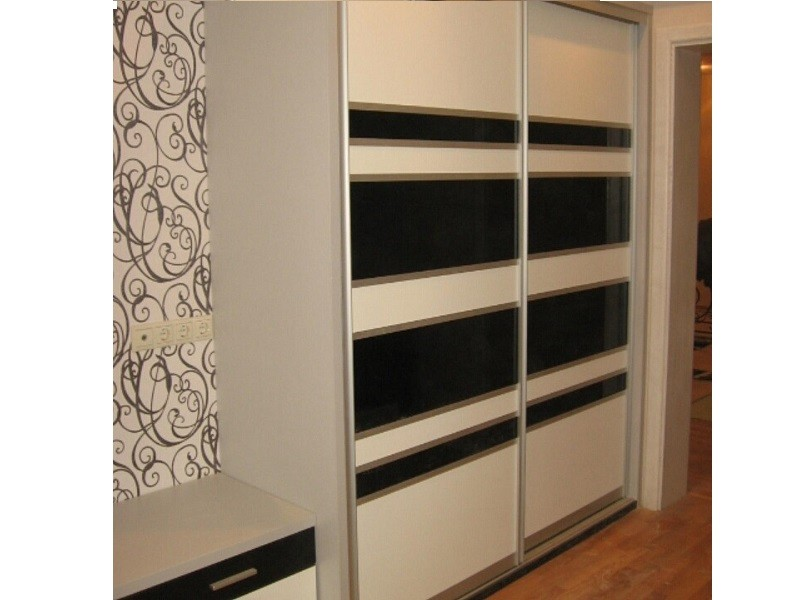 Встраиваемый шкаф-купе в прихожую двухдверный до потолка 0315