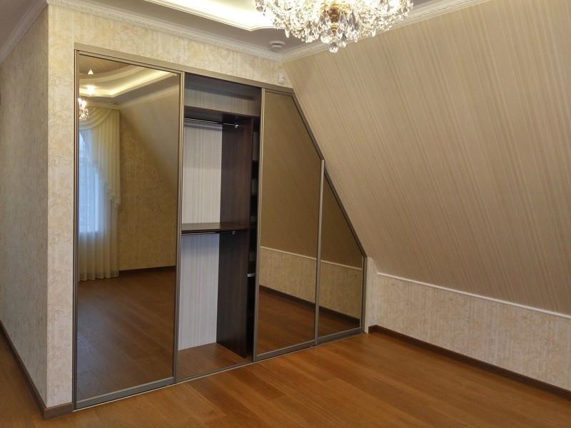 Нестандартный шкаф-купе зеркало графит №0436