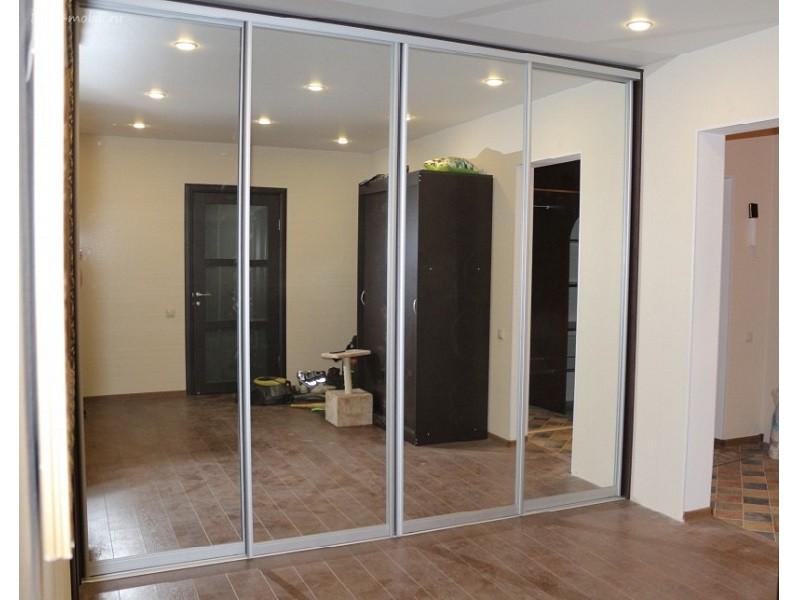 Двери-купе зеркало серебро