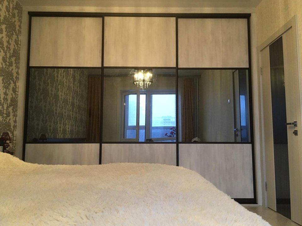 Двери-купе для встроенного шкафа зеркало графитДвери-купе для встроенного шкафа зеркало графит