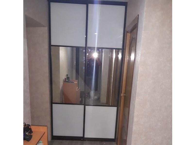 Двери-купе зеркало графит в нишу