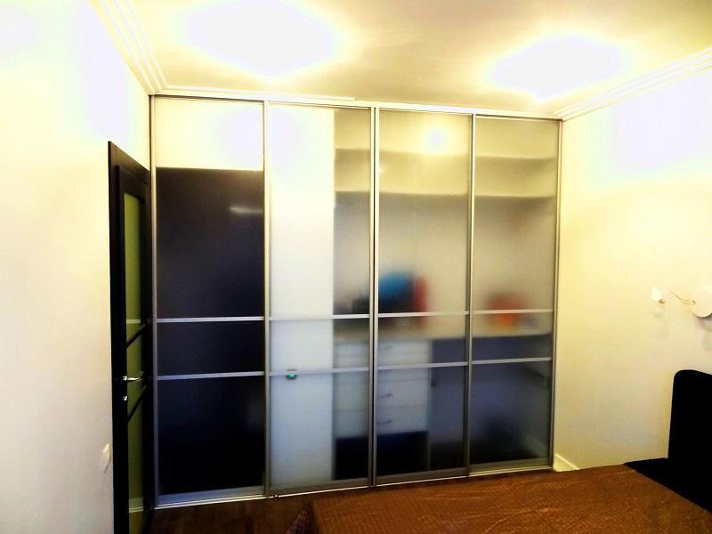 Двери-купе стекло сатин прозрачное