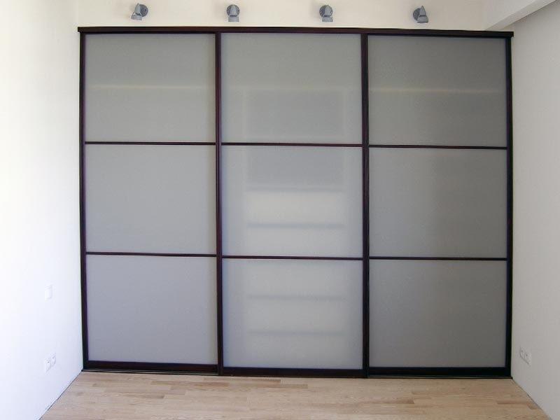 Двери-купе стекло сатин серое